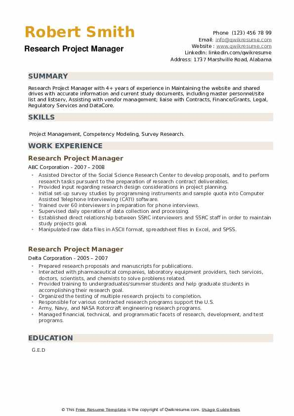 Research Project Manager Resume example