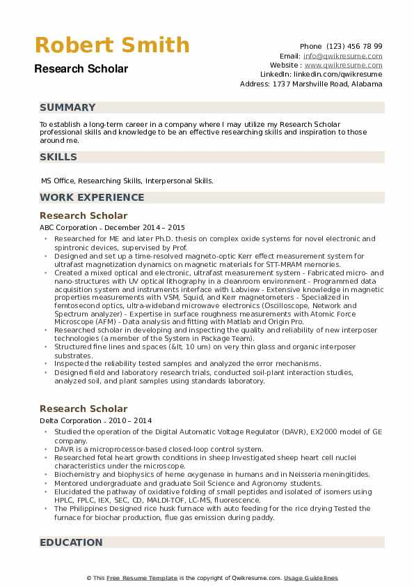 Research Scholar Resume example