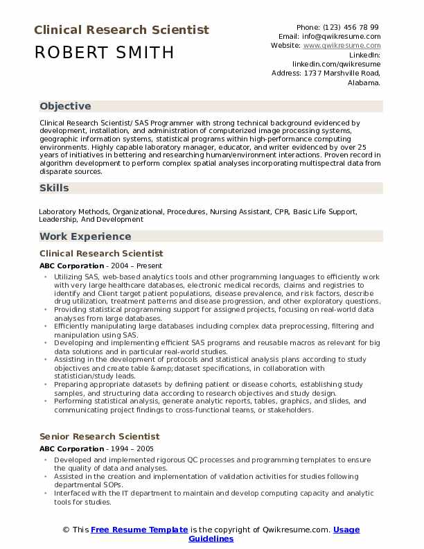 Clinical Research Scientist Resume Example