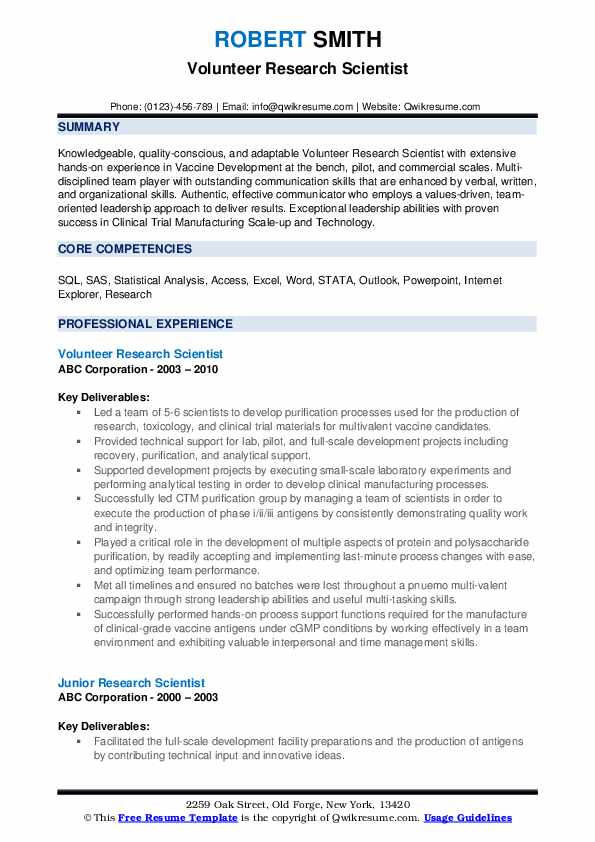 Volunteer Research Scientist Resume Format