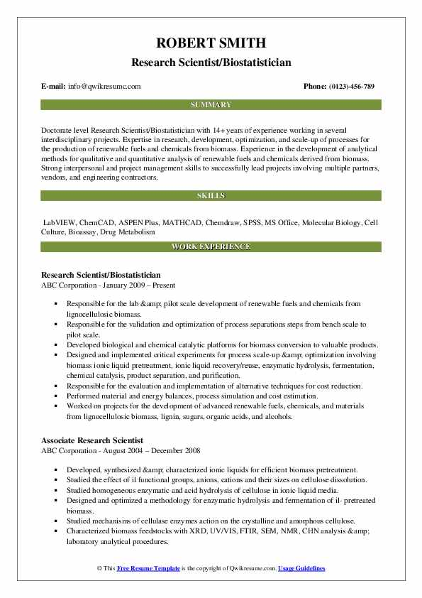Research Scientist Resume Samples Qwikresume