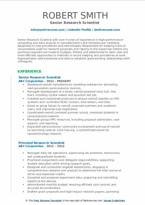 Senior Research Scientist  Resume Sample