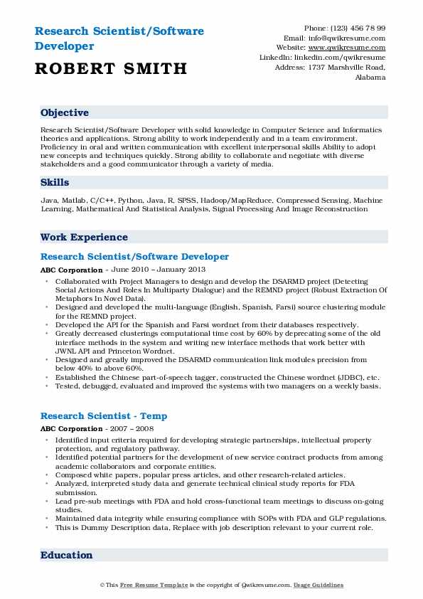 Research Scientist/Software Developer Resume Example