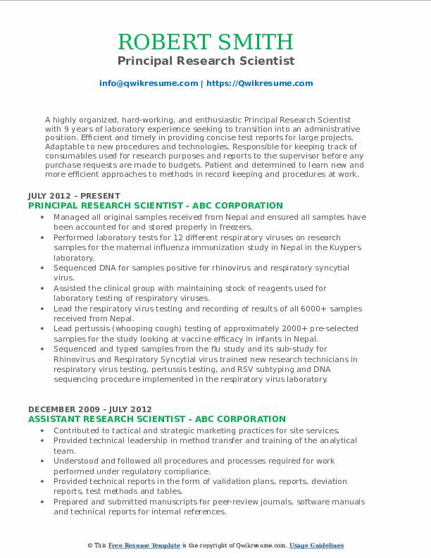 Principal Research Scientist Resume Template