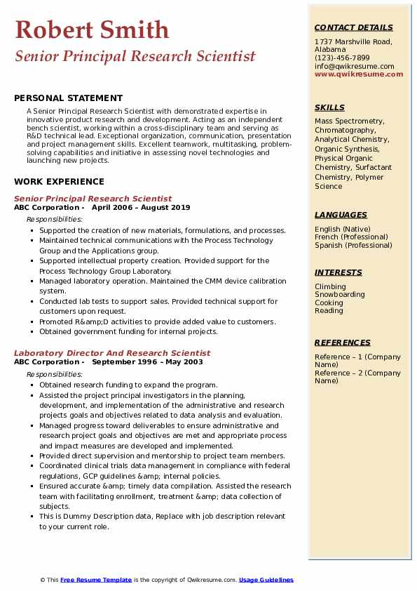 Senior Principal Research Scientist Resume Model
