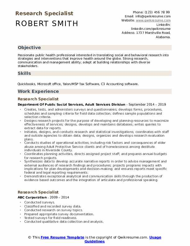 Research Specialist Resume Format