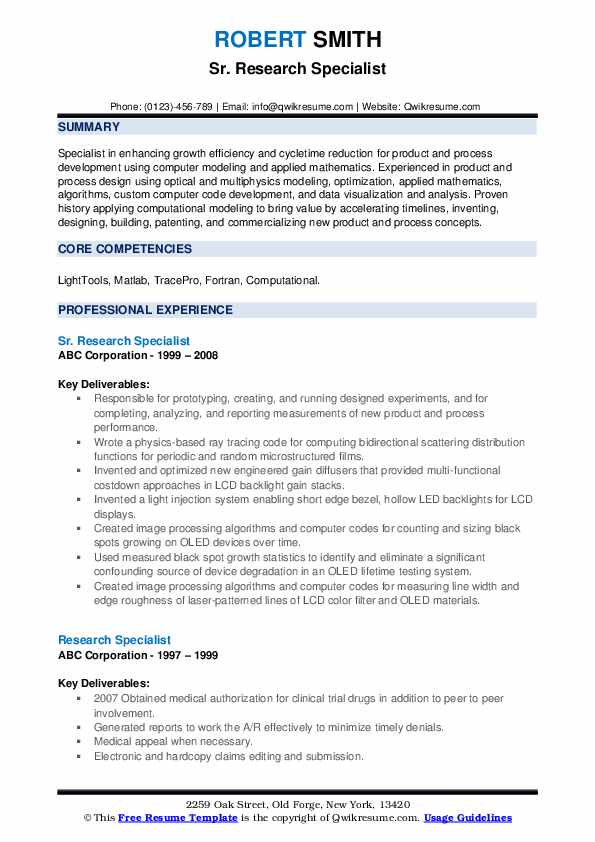 Sr. Research Specialist Resume Format