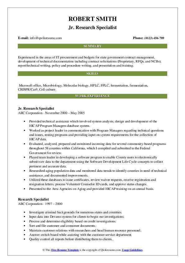 Jr. Research Specialist Resume Model