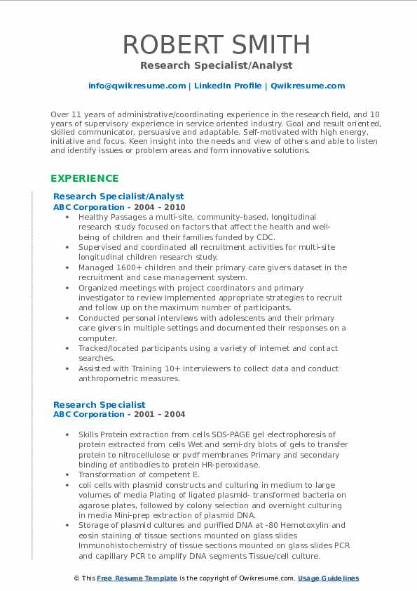 Research Specialist/Analyst Resume Sample