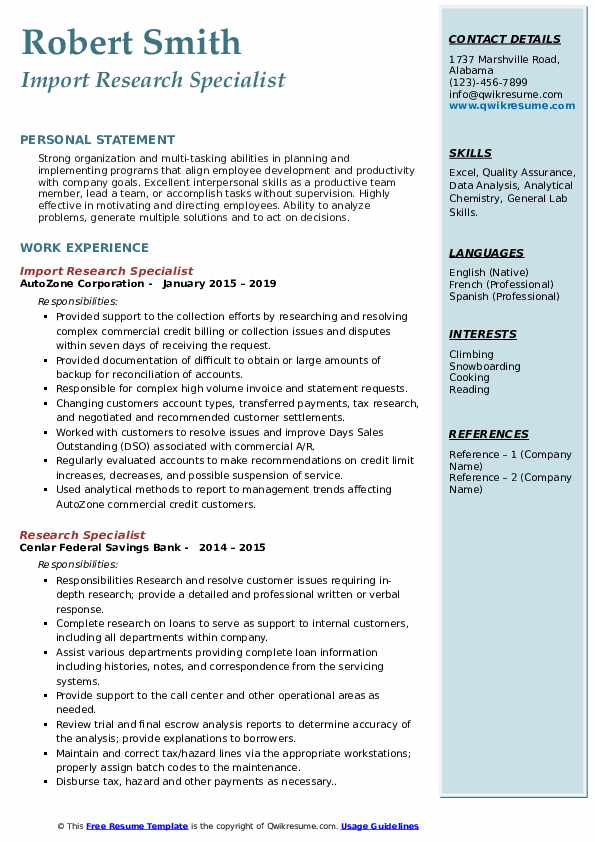 Import Research Specialist Resume Example