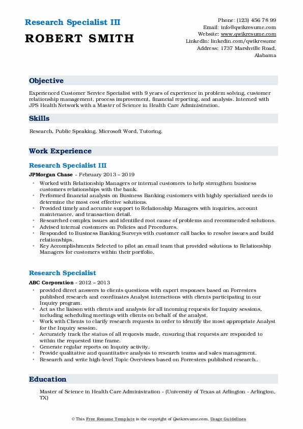 Research Specialist III Resume Example