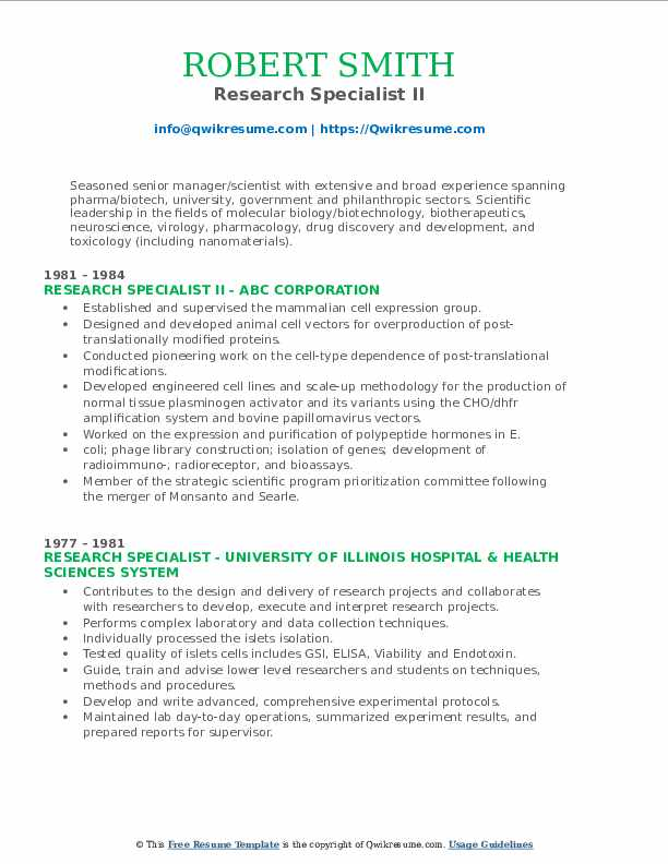 Research Specialist II Resume Format