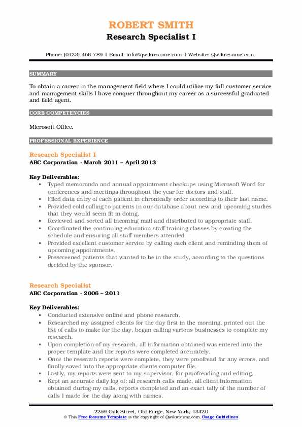 Research Specialist I Resume Example