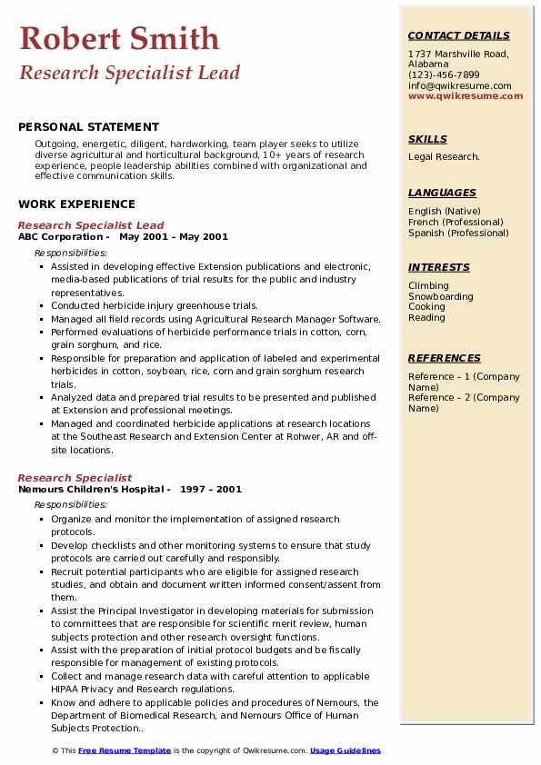 Research Specialist Lead Resume Example