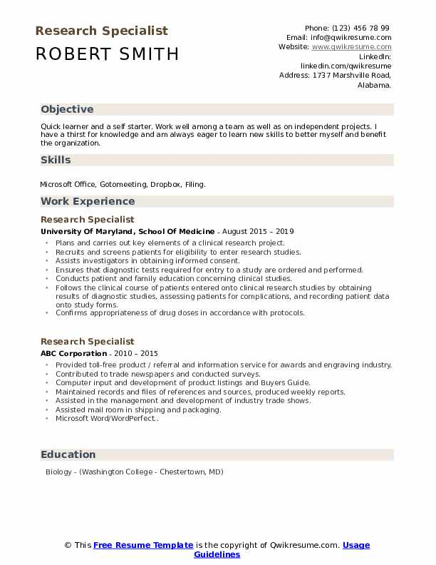 Research Specialist Resume example