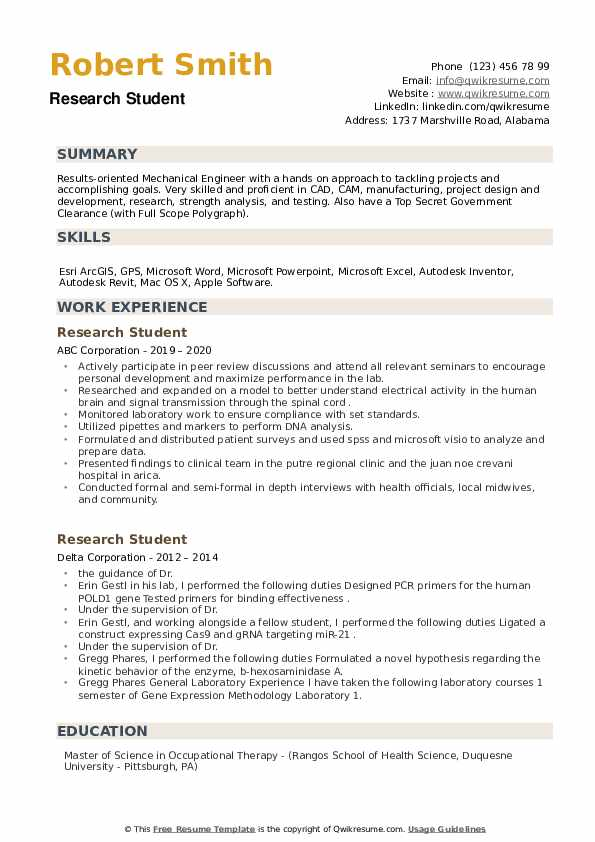 Research Student Resume example