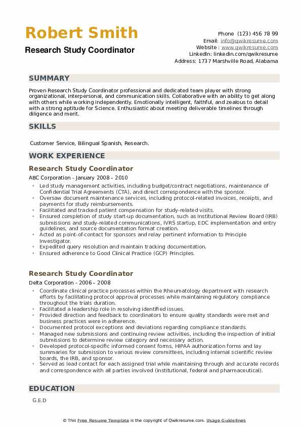 Research Study Coordinator Resume example