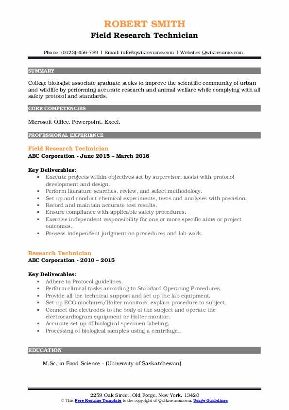 Field Research Technician Resume Template