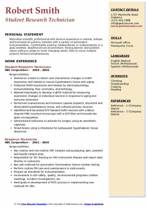 Student Research Technician Resume Format