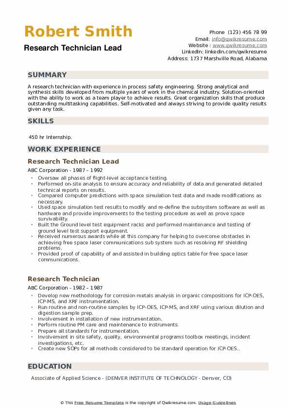 Research Technician Lead Resume Format