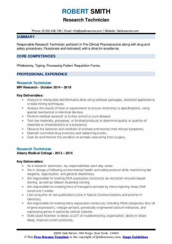 Research Technician Resume example