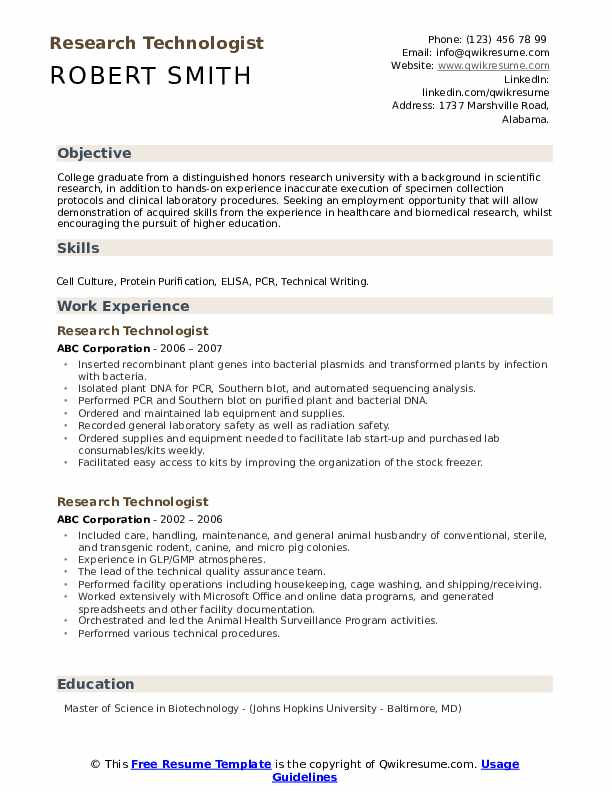 Research technologist resume example cover letter job application fresh graduate