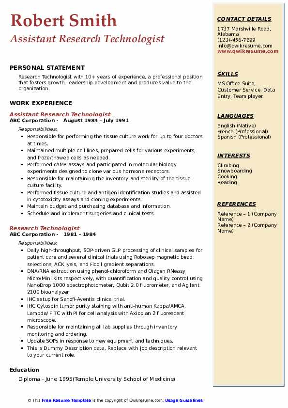 research technologist resume samples  qwikresume