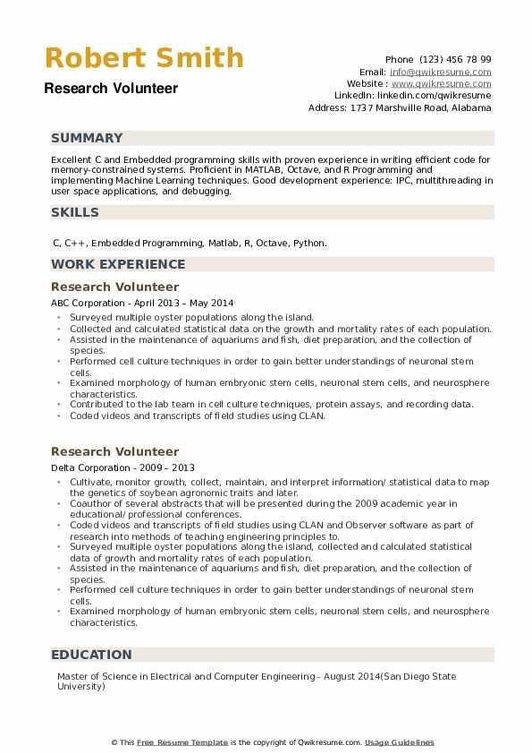 Research Volunteer Resume example