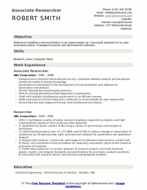 Associate Researcher Resume Template