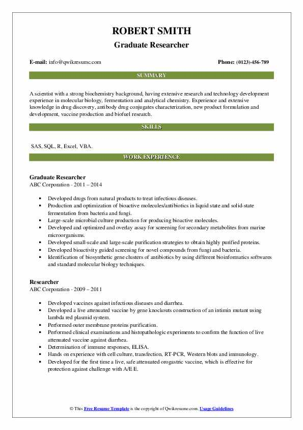 Graduate Researcher Resume Model