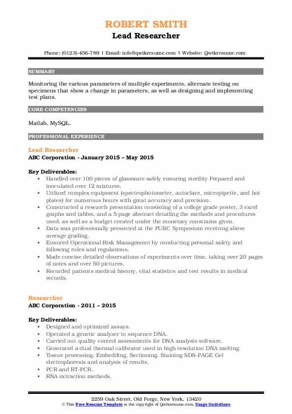 Lead Researcher Resume Sample