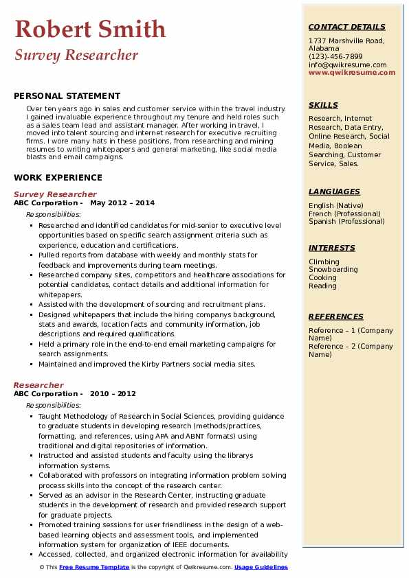 Survey Researcher Resume Model