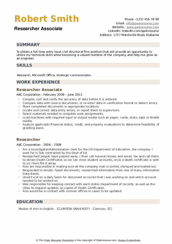 Researcher Associate Resume Format