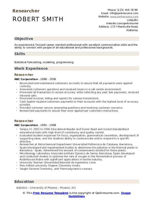 Researcher Resume example
