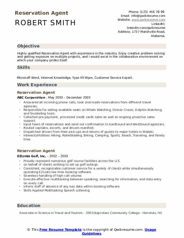Reservation Agent Resume Template