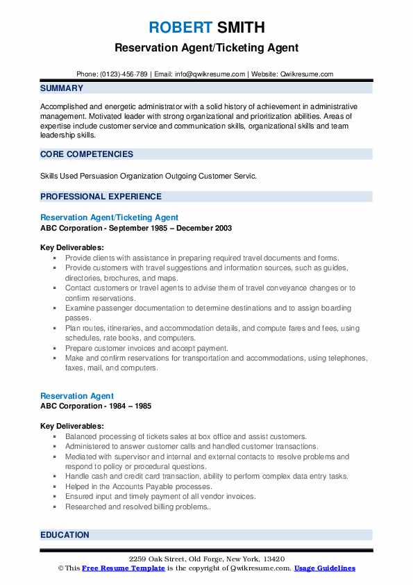 Reservation Agent/Ticketing Agent Resume Format