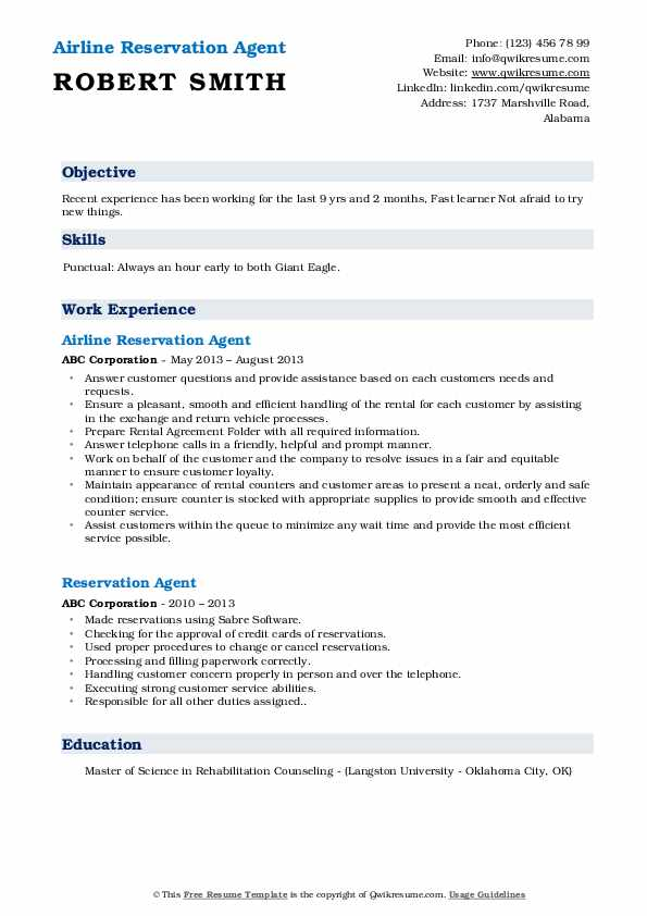 Airline Reservation Agent Resume Template