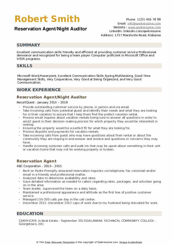 Reservation Agent/Night Auditor Resume Template
