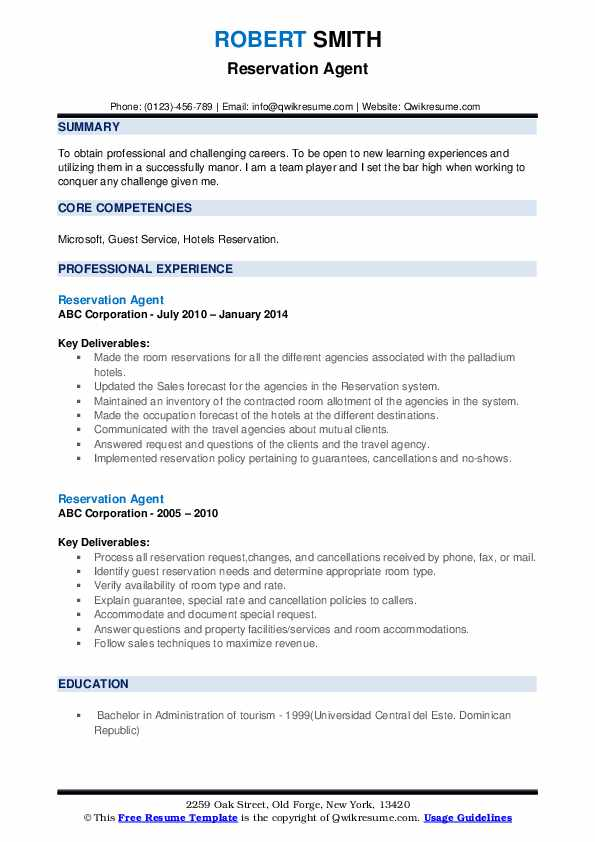 Reservation Agent Resume example