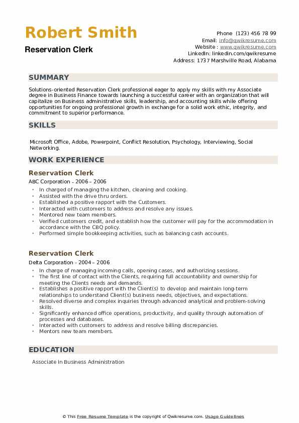 Reservation Clerk Resume example