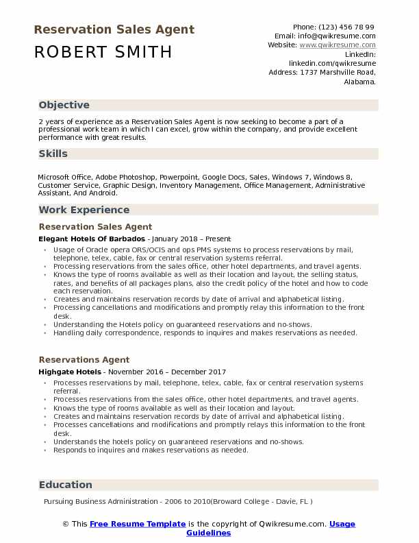 reservation sales agent resume samples