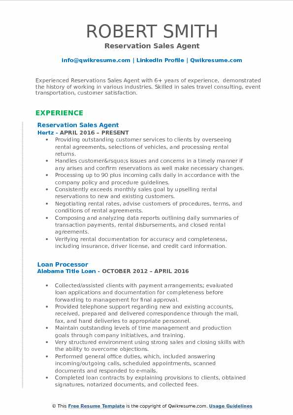 Reservation Sales Agent Resume Template
