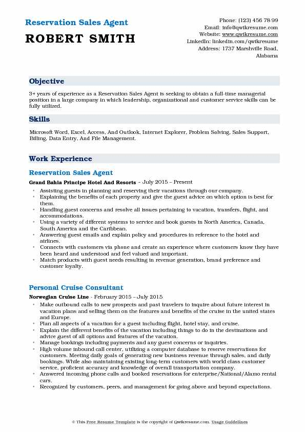 Reservation Sales Agent Resume Example