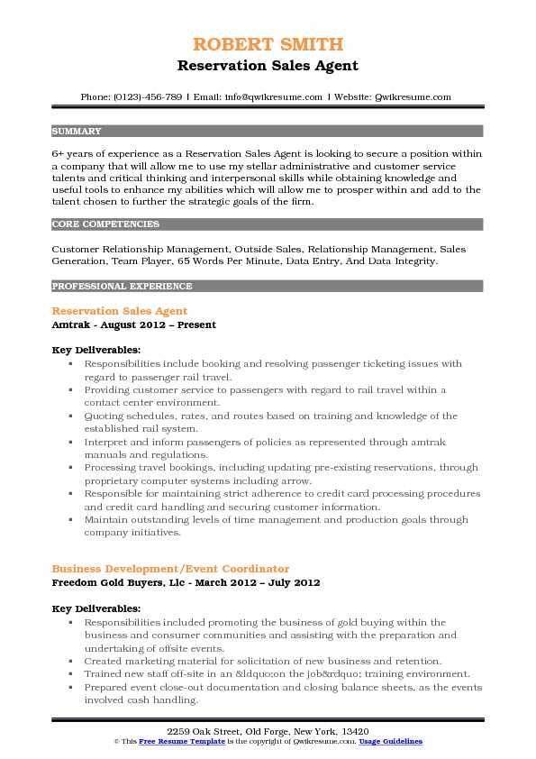reservation sales agent resume samples