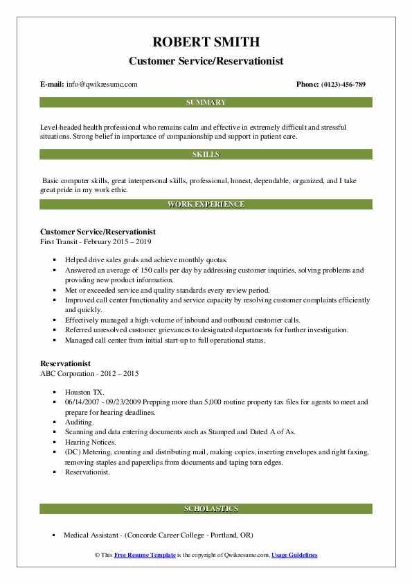 Customer Service/Reservationist Resume Format