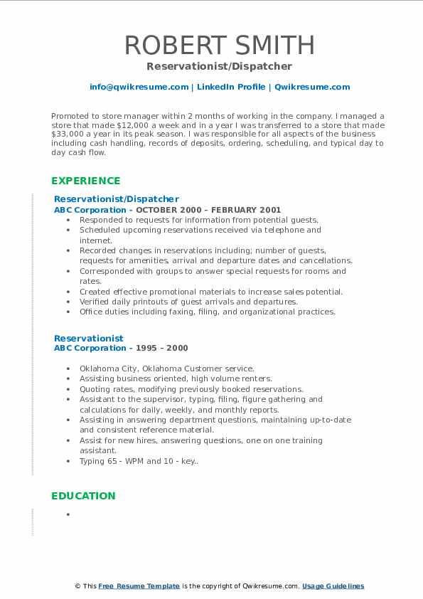 Reservationist/Dispatcher Resume Model