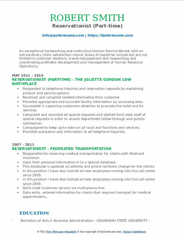 Reservationist (Part-time) Resume Example