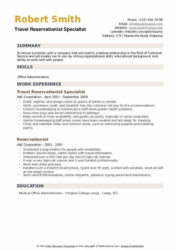 Travel Reservationist Specialist Resume Format