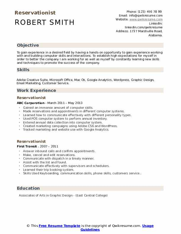 Reservationist Resume example