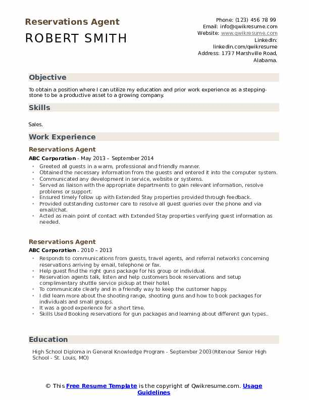 Reservations Agent Resume Example